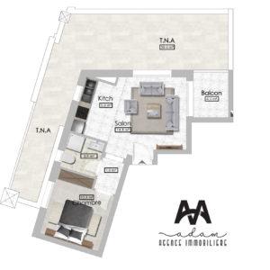 S+1 de 60m² avec terrasse de 40m² à l'AFH Mrezgua Nabeul