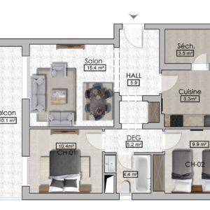 Appartement S+2 de 107m² avec terrasse de 10m² à AFH, mrezga