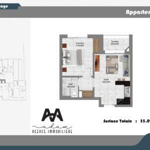 Appartement S+1 haut standing de 55m² à Hammamet Nord, Mrezga