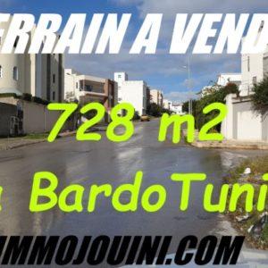 Terrain 728 m² Cité Abdelaziz Skik Bardo