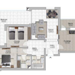 S+2 de 135 m² couvert avec balcon de 16 m² à AFH Mrezga