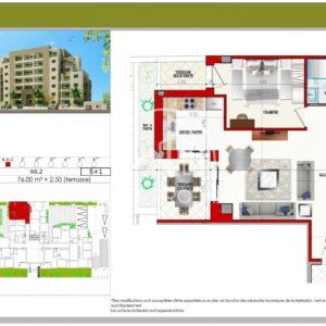 Appartement S+1 de76 m² à AFH Mrezga